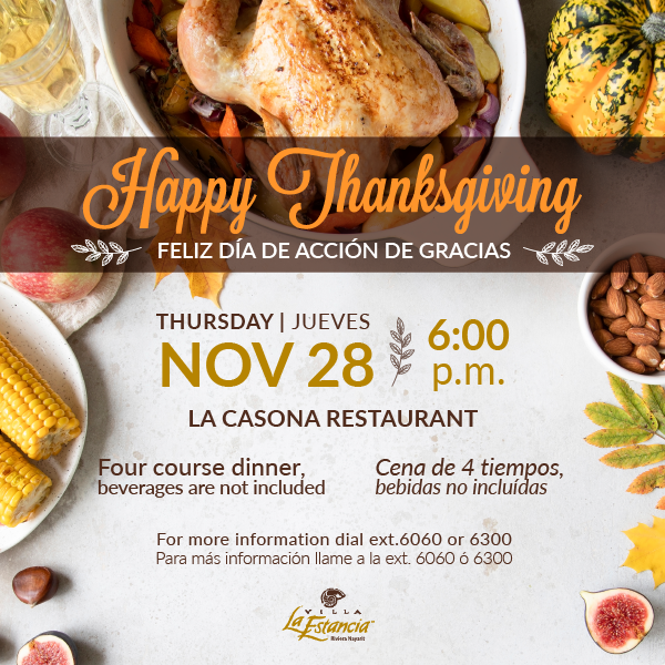 thanksgiving dinner villa la estancia riviera nayarit