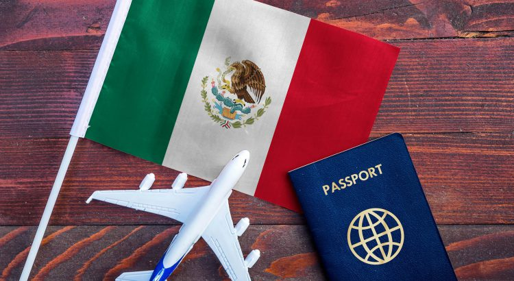 Mexican Flag, with passport and plane